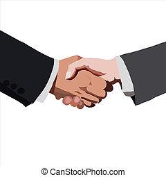 partnership., וקטור, illustration., רשום, handshake.