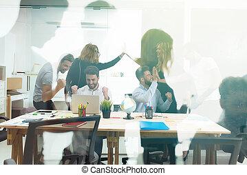 partnership., 概念, ビジネス, オフィス。, 人, チームワーク, ダブル, ハンドシェーキング, さらされること