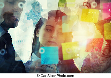 partnership., 概念, 前景。, オフィス, ビジネス 人々, ダブル, メモ, 仕事, それ, 一緒に, チームワーク, 効果, ポスト, さらされること
