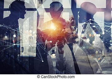 partnership., 概念, 参加しなさい, ネットワーク, ビジネス 人々, ダブル, 困惑, インターネット, 小片, チームワーク, 効果, オフィス。, さらされること