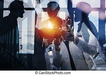 partnership., 概念, 参加しなさい, ビジネス 人々, ダブル, 困惑, ライト, 小片, チームワーク, 効果, オフィス。, さらされること