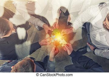 partnership., 概念, 参加しなさい, ビジネス 人々, ダブル, 困惑, exposure., pieces., チームワーク