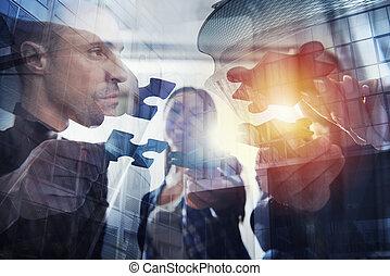 partnership., 概念, 参加しなさい, ビジネス 人々, ダブル, 困惑, pieces., チームワーク, さらされること