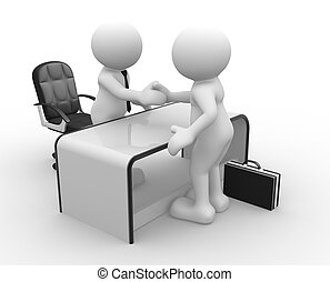 3d people - human character, peson in an office. Businessmen who shake hands. The concept of partnership. 3d render