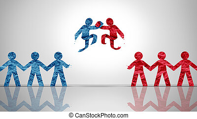 Partnership agreement as a concept image of diverse business partners joining together in a meeting as papercut people as a symbol for teamwork and cooperation orcollaboration in a 3D illustration style.