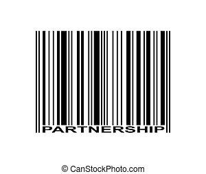 Partnership Barcode - Partnership word and barcode icon