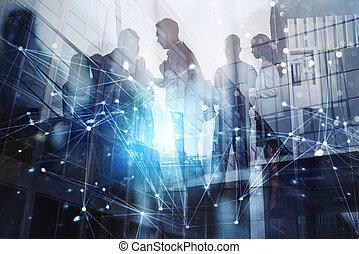 partnership., begriff, silhouette, geschaeftswelt, arbeitende leute, doppelgänger, zusammen, gemeinschaftsarbeit, effekte, büro., aussetzung, vernetzung