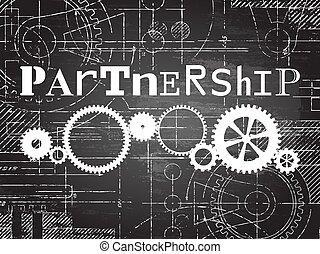Partnership Blackboard Tech Drawing - Partnership sign and...