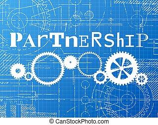 Partnership Blueprint Tech Drawing - Partnership sign and...