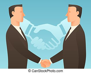 Partnership business conceptual illustration with ...