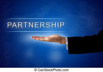 partnership button on virtual screen