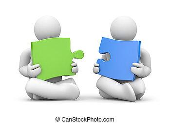 Partnership - Business metaphor. Isolated on white