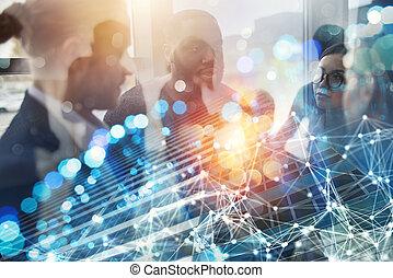 partnership., concept, professionnels, double, travail, collaboration, ensemble., équipe, exposition