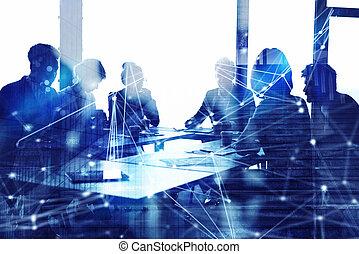 partnership., concept, silhouette, réseau, professionnels, bureau., travail, ensemble, collaboration, effets, double exposition