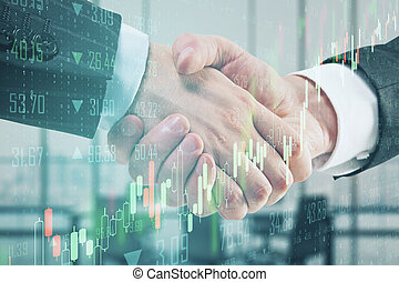 Partnership concept with double exposure of businessman handshake and abstract financial chart.