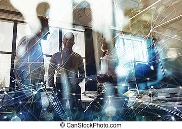 partnership., concepto, red, empresarios, oficina., trabajo, juntos, trabajo en equipo, efectos, doble, luz, exposición
