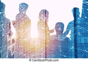 partnership., concepto, red, oficina, effect., doble,...
