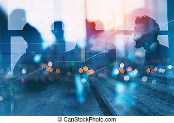 partnership., concepto, silueta, red, empresarios, oficina.,...