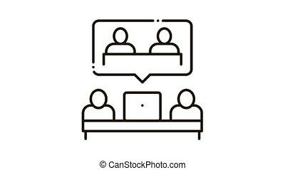 partnership coworking decision Icon Animation. black partnership coworking decision animated icon on white background