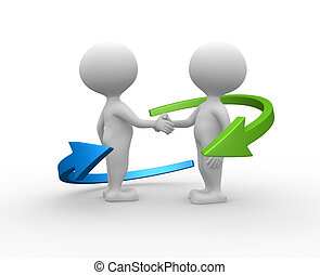 Partnership. - 3d people - men, person shaking hands and an...