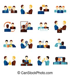 Partnership Flat Icons Set