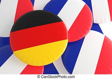German And French Flag Badges, 3d illustration