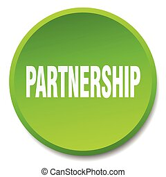 partnership green round flat isolated push button