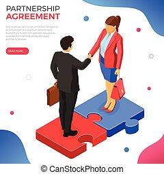 Partnership, Handshake Business Man and Woman