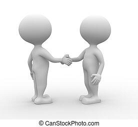 Partnership - handshake. - 3d people - man, person...