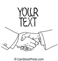 Partnership. Handshake. Sketch, vector illustration.