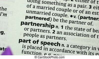 Partnership highlighted in purple in the dictionary