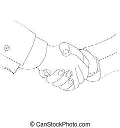 partnership., illustration., ビジネス, スケッチ, 人々。, 握手, ベクトル, インク