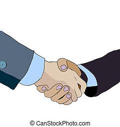 partnership., illustration., ビジネス, 人々。, 握手, ベクトル