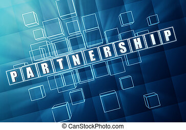 partnership in blue glass cubes