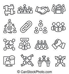 Partnership line icons set on white background