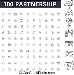 Partnership line icons, signs, vector set, outline illustration concept
