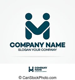 Partnership logo template business concept consisting of two people shake hands