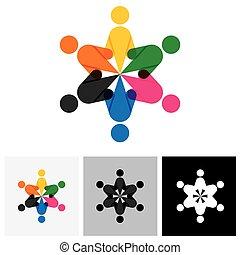partnership., pessoas, -, junto, sinal, vetorial, unidade, ícone