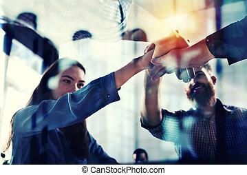 partnership., pojęcie, handlowy, podwójny, lekki, osoba, teamwork, skutki, biuro., uzgadnianie, ekspozycja