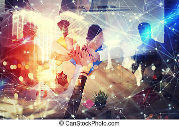 partnership., pojęcie, sieć, handlowy, biuro., osoba, teamwork, skutki, podwójny, uzgadnianie, ekspozycja