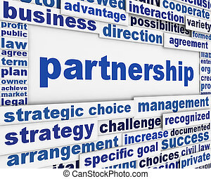 Partnership poster design. Business agreement message...
