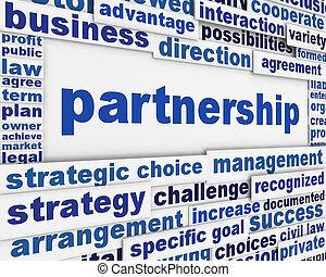 Partnership poster design. Business agreement message conceptual design
