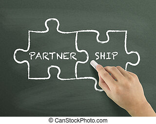 partnership puzzle concept drawn by hand
