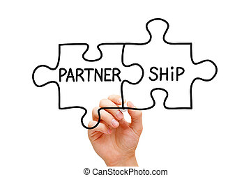 Partnership Puzzle Concept - Hand drawing Partnership Puzzle...