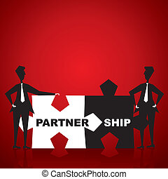 Partnership puzzle piece in hand