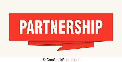 partnership sign. partnership paper origami speech bubble....