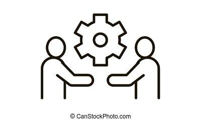 partnership solutions Icon Animation. black partnership solutions animated icon on white background