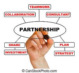 partnership - writing words partnership on white background...