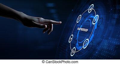 Partnership Teamwork Collaboration. Hand pressing button on screen.