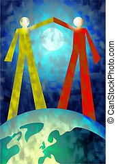 partnership - two people making a gesture of peace and unity...